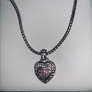 Brighton Pink and Clear CZ Heart ❤️ Necklace